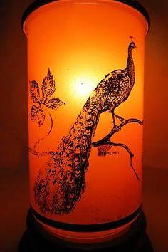 PAIR (2) Art Deco Czech Cased ORANGE & Sterling Overlay Boudior Mantle Lamps