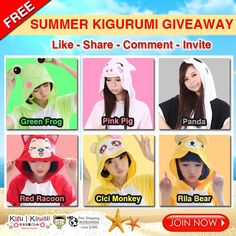 SUMMER KIGURUMI GIVEAWAY! ヾ(ˆ⌣ˆc)  Want to win one of these cute and comfortable summer onesies? Here's how to! Tag 5 friends to increase chances of winning! heart emoticon  JOIN NOW: http://on.fb.me/1IecQxx