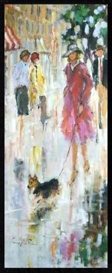Happy Corgi by Linda Ellen Price Oil ~ 48 x 20