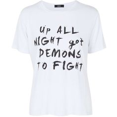 **Up All Night - Ivory With Black Writing T-Shirt by Goldie ($36) ❤ liked on Polyvore featuring intimates, sleepwear, nightgowns, ivory, black nightie and black nightgown
