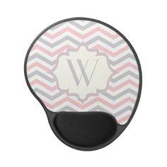 Modern pink, grey, ivory chevron pattern custom gel mousepadvby zazzleproducts1