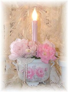 Shabby Chic Pink Candle Light by ginger
