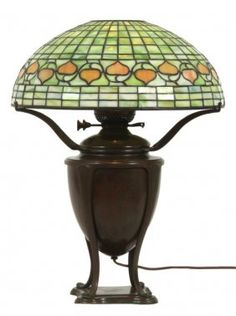 16 In. Tiffany Studios Acorn Table Lamp