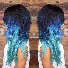 Black Hair with Blue and Teal Tips