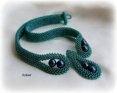 Beaded teal seed bead & pearl Right Angle Weave necklace $150.00