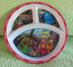 #TELETUBBIES Child's Divided PLATE Melamine Dishwasher Safe Clean Dish #Dipsy #Po #TinkyWinky #LaLa  #ZakDesigns