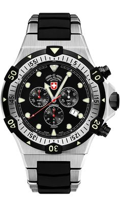The Ultimate Dive Watch: CONGER by CX Swiss Military Watch. CX Swiss Military Watch keeps on raising the bar and setting new benchmarks for dive watches. Swiss Watches For Men, High End Watches, Military Men, Sport Watches, Stylish Men, Casio Watch, Stainless Steel Case, Man, Omega Watch