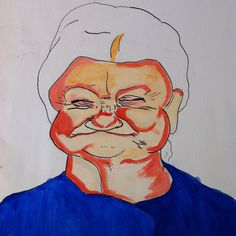 Toothles. tekening van een oude vrouw. Drawing /painting of a old lady. Made by Grietje Drooglever