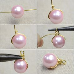 Make Pearl Drop Earrings Many of you may fancy pink pearls. So today I would like to make a pair of pink pearl drop earrings that are full of femininity and elegance. Below is shown the steps about how to make pearl drop earrings. Wire Jewelry Designs, Jewelry Patterns, Jewelry Crafts, Jewelry Trends, Jewelry Ideas, Bead Jewellery, Beaded Jewelry, Fine Jewelry, Jewlery