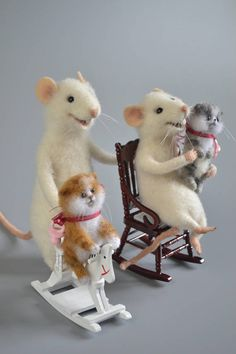 Mouse and kitten Needle Felted mice Art White mouse and kitty