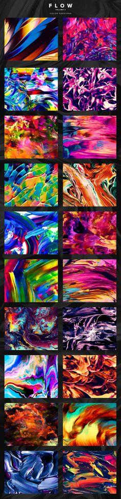 Flow, Vol. 2: 100 fluid paintings by Jim LePage on @creativemarket