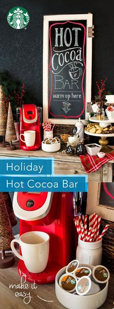 Creating a Holiday Hot Cocoa bar is fun and easy. Simply gather a selection of your favorite mugs around your Keurig brewer. Place some Starbucks Hot Cocoa K-Cup pods out alongside a thoughtful selection of toppings and treats to make creating the perfect cup a joy. We suggest marshmallows, candies, stirring spoons, whipped cream, and sea salt. For more ideas look for our recipes for homemade marshmallows, chocolate covered stirring spoons and chocolate dipped marshmallows.
