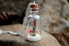 Terrarium necklace miniature mushrooms necklace by VeinsOfNature