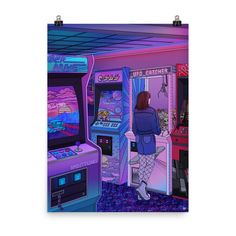 """Arcade"""" Art Print / Poster by Kelsey Smith / Amidstsilence. Aesthetic Images, Purple Aesthetic, Aesthetic Backgrounds, Aesthetic Art, San Francisco At Night, Retro Arcade, Photo Wall Collage, Black Mirror, Vaporwave"""