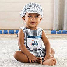 """""""All Aboard!"""" Romper and Hat Set"""