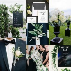 Black, white and greenery wedding vision board<br> Black And White Wedding Theme, Sage Green Wedding, Gold Wedding Theme, Black Tie Wedding, Wedding Themes, Dream Wedding, Wedding Ideas, Wedding Bells, Wedding Decor