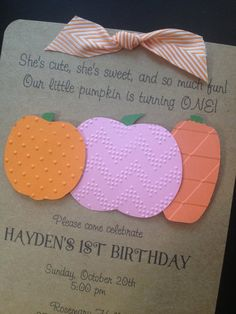 Pink Pumpkin Patch Handmade Invitations Custom Made for Girl Birthday Party or Baby Shower on Kraft Paper, Set of 8, $15.00