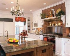 Kitchen , Lovely English Country Kitchens : English Country Kitchens With Wooden Island And Quartz Countertop And Gas Range With Brick Walls And Open Shelving And White Cabinets With Plates Rack