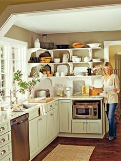 Getting microwave off the counter - shorten cupboard and put it above, under the counter and gives it more space!