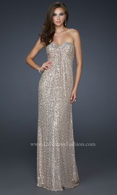 SEQUIN COVERED STRAPLESS PROM DRESS