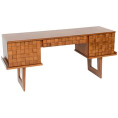 "A Paul Laszlo Fruitwood ""Woven Front"" Desk/Console, USA 