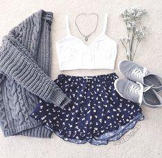 | White Bralette | Navy Blue Printed Shorts | Grey Knit Cardigan | Grey Keds |
