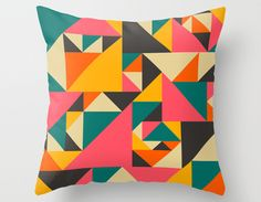Decorative Pillow Cover, Colorful Home Decor Abstract Throw pillow case by Modern Artist Jazzberry Blue via Etsy Decorative Cushions, Decorative Pillow Covers, Throw Pillow Cases, Throw Pillows, Pillow Inspiration, Colour Inspiration, Quilted Pillow, Home And Deco, Custom Pillows