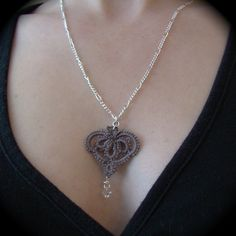 Tatted Lace Pendant Necklace - My Gray Heart. $22,00, via Etsy.