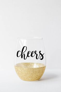 Cheers - Glitter Stemless Wine Glass - Gold glitter dipped wine glass - wine… More