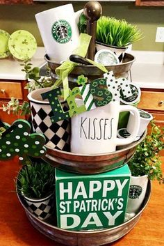 St Patricks Day Decorations That You Can DIY ★ See more: http://glaminati.com/diy-st-patricks-day-decorations/ St Pats, Tier Tray, Saint Patrick, Monday Morning Coffee, 3 Tier Stand, Tiered Stand, Leprechaun, St Patrick's Day Decorations, Galvanized Tiered Tray