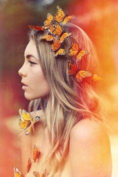 Silk butterfly crown