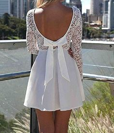 Lowpricenice(TM)Sexy Women Lace Bow Backless Love Heart Pattern Party Dress (XL)