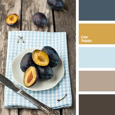 "This palette is useful if you select colors for decoration of your kitchen. Pleasant shades of brown, yellow and blue with ""dusty"" brown are well-suited for the interior of this room of the house. They can also be used for serving a festive dining table."