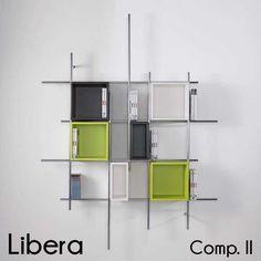 Libreria da parete in metallo Libera con contenitori inclusi 166 x h 198