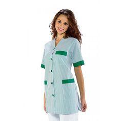 La casacca Dacca Isacco è realizzato in in 65% Poliestere e 35% Cotone 125 gr/mq. Modello con colletto a V, abbottonatura centrale con bottoni fissi, manica corta. Modello unisex. Taglie assortite. Colore riga verde  http://www.luisabbigliamentoprofessionale.com/shop/abbigliamento-sanitario-ed-estetico/203-casacca-dacca-isacco.html