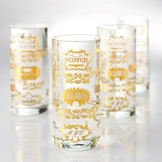 Golden Spirits Highball Glasses - Set of 4 - Unique Modern Furniture - Dot & Bo