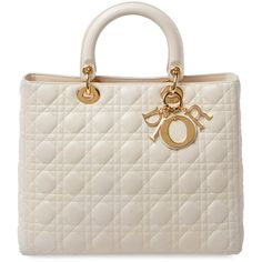 Christian Dior Ivory Cannage Quilted Lambskin Lady Dior Large (40.347.970 IDR) ❤ liked on Polyvore featuring bags, handbags, white, christian dior purses, quilted purse, christian dior, white quilted handbag and vintage handbags