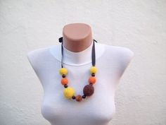 SALE 20  Was 15 Now 12Felted Necklace Yellow Brown Orange by nurlu, $12.00