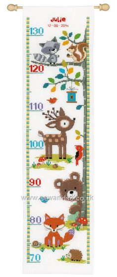 Forest Animals II Height Chart Cross Stitch Kit