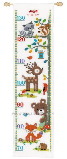 Forest Animals II Height Chart Cross Stitch Kit
