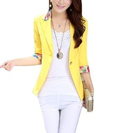 ad51fdb6de5 Aro Lora Women s Long Sleeve Slim Fitted Floral Print Casual Suit Jacket  Blazer US Yellow