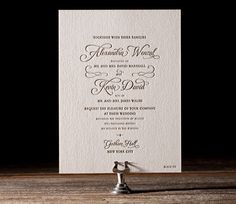 Classic Manhattan letterpress wedding invitation by Brenda Fox for Bella Figura. Customize yours with Paper Passionista.