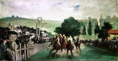 The Races at Longchamp is an 1866 painting by the French artist Édouard Manet. The Impressionist painting depicts a horse racing at Longchamp and is currently conserved at the Art Institute of Chicago. Longchamp, Henri Rousseau, Claude Monet, Eduardo Manet, Edouard Manet Paintings, Francisco Goya, Pierre Auguste Renoir, Impressionist Art, Art Institute Of Chicago