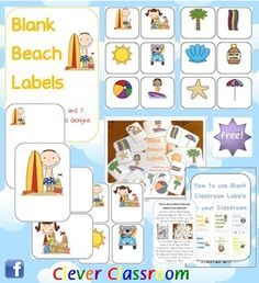 FREE Beach Themed Blank Classroom Labels - PDF file. 48 pages, plus 15 page how to use guide, including classroom images all designed by Clever Classroom.    These basic, blank beach templates can be used as labels to add to your beach/sea theme.    There are 7 different designs of the same 12 beach images i.e 6 to a page, 4 to a page, 2 to a page, with the beach image