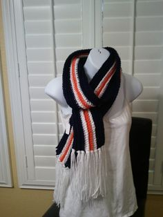 Football Scarf  Chicago Bears Colors by kraftychix on Etsy, $20.00