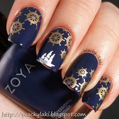nautical nails - blue nail design