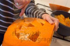 Halloween jack o lantern preparation - royalty free photo