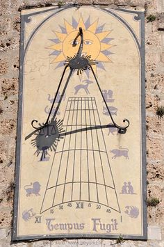 The fabulous sundial (cadran solaire) on the tower in the center of Anduze