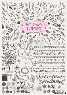 Vektor: Big set of hand drawn floral