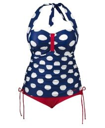 Love this faux tankini style swimsuit in navy and red with polkadots!